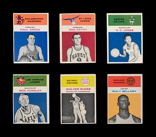 A Group of Six 1961 Fleer Basketball Cards including Walt Bellamy, K.C. Jones, Bob Pettit and Paul Arizin,