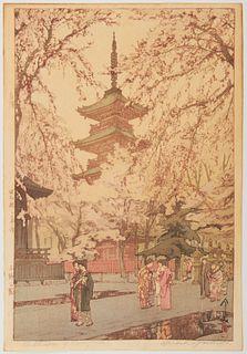 "Hiroshi Yoshida ""A Glimpse of Ueno Park"" Woodblock Print"