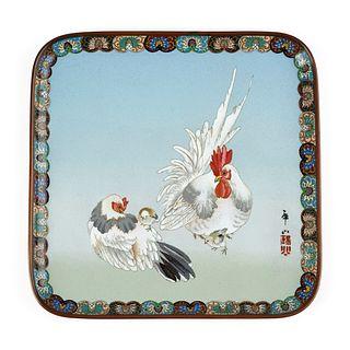 Japanese Meiji Chicken Cloisonne Enamel Tray