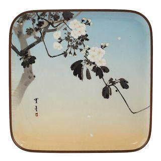 Namikawa Sosuke Cherry Blossom Cloisonne Enamel Tray - Damaged
