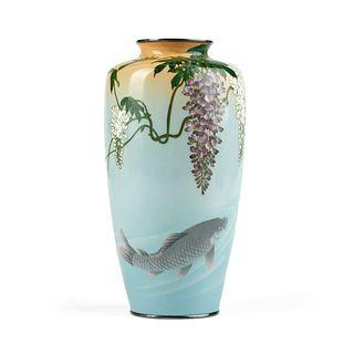 Ando Japanese Fish & Wisteria Cloisonne Vase - Marked