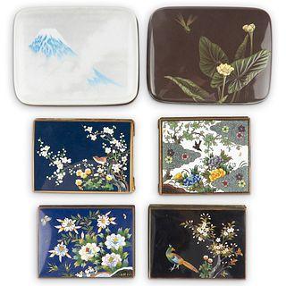Grp: 6 Japanese Cloisonne Enamel Boxes