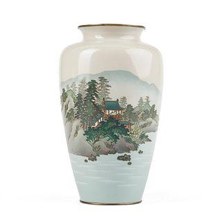 "Japanese Meiji Cloisonne Landscape Vase - 10"" Tall"
