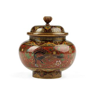 Japanese Meiji Cloisonne Enamel Small Covered Jar
