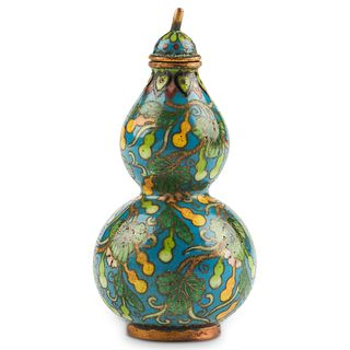 Chinese Double Gourd Cloisonne Snuff Bottle - Marked