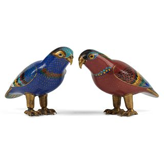 Pair of Chinese Cloisonne Enameled Birds