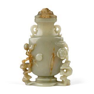 20th c. Chinese Carved Jade Vase