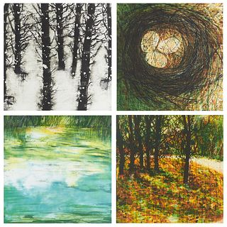 """Katherine Bowling """"Four Seasons"""" Color Etchings"""