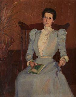 Ellen Wheelock Portrait of a Woman Oil on Canvas