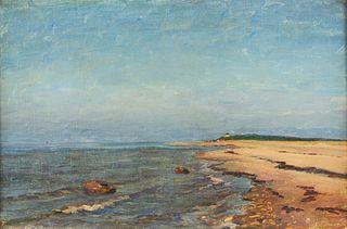 American School Beach Landscape Oil on Canvas