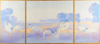 Clarence Rosenkranz Boy & Cranes Oil on Canvas
