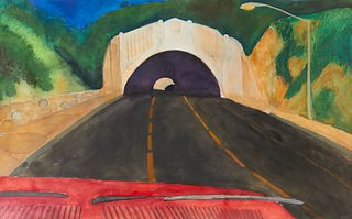 "Carol Lee Chase ""Road Trip: Golden State Freeway"" Gouache"