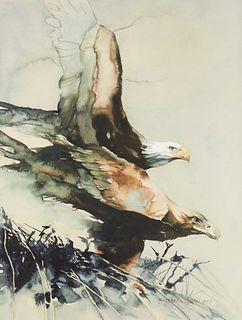 """Stephen Lyman """"Eagles"""" Watercolor"""