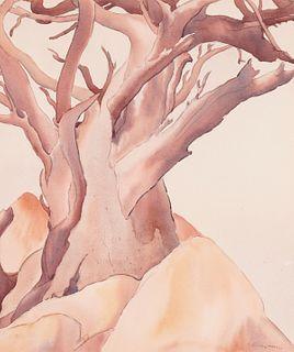 Stanley Wood Modernist Tree Watercolor