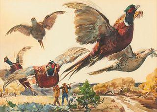 Warren Baumgartner Pheasant Hunting Watercolor