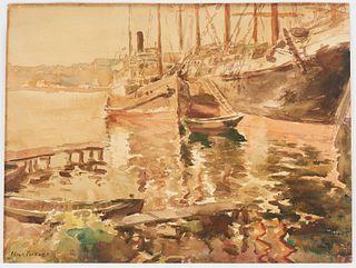 Edgar Forkner Harbor Watercolor