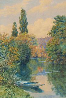 Alfred Robert Quinton River Scene Watercolor
