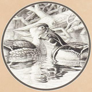 Frank Mittelstadt Duck Couple Pencil Drawing