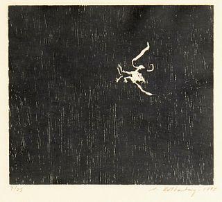 "Susan Rothenberg ""Kissing the Bird"" Woodcut"