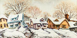 Rod Massey Winter Neighborhood Oil on Panel
