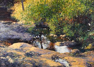 """Gary Bowling """"Retreat to a Summer Brook"""" Oil on Canvas 1999"""