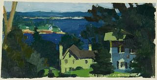 "Joseph Byrne ""Houses in Round Pond"" Oil on Paper"