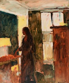"Reed Farrington ""Woman in Interior"" Oil on Board"