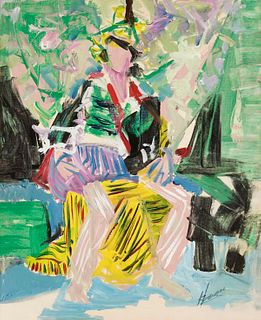 Abstract Expressionist Woman Oil on Canvas on Board