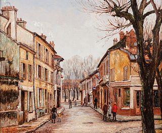 "Rene Bondenet ""Rue de L'Eglise"" Painting on Canvas"