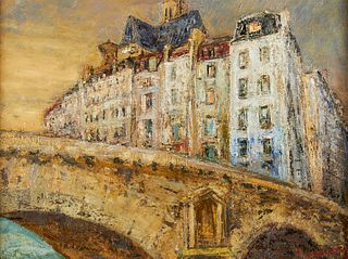Edmund Quincy Pont Notre-Dame Paris Oil on Canvas