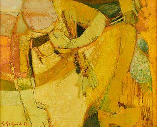 """Gabriel Godard """"Femme au Chauf"""" Oil on Canvas"""