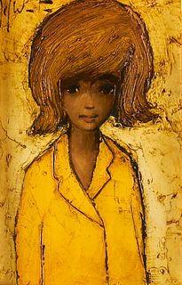 Jef Wauters Portrait of a Girl Oil on Board