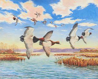 "Charles Edmund Monroe Jr. ""Redheads"" Painting on Board"