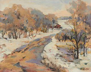"Bea Opelka ""Winter Road"" Oil Painting"