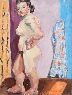 Elizabeth Grant WPA Standing Female Nude Oil on Canvas