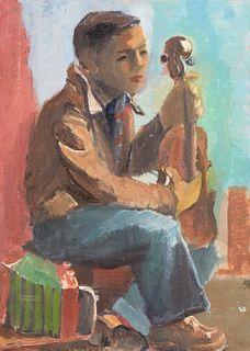 Elizabeth Grant WPA Man & Cello Oil on Canvas
