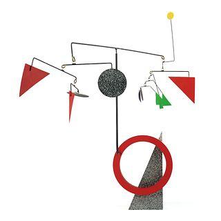 Calder Style Painted Metal Mobile Kinetic Sculpture
