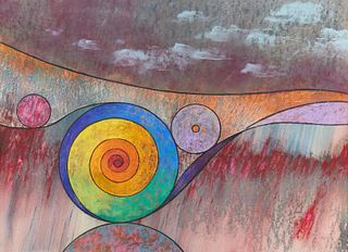 "William Saltzman ""Color Spectrum Spiral Landscape"" Pastel"