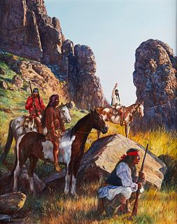 """Hubert Wackermann """"Apache Hideout"""" Painting on Canvas"""