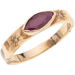 RING WITH RUBY AND DIAMONDS IN 14K YELLOW GOLD 1 Marquise cut ruby ~0.50 ct and 2 8x8 cut diamonds ~0.02 ct. Size: 8 ½