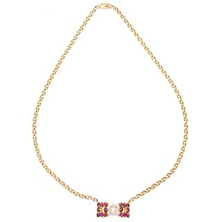 CHOKER WITH RUBIES AND DIAMONDS IN 14K AND 18K YELLOW GOLD 16 Oval cut rubies ~ 1.60ct and 8 Brilliant cut diamonds ~0.56ct