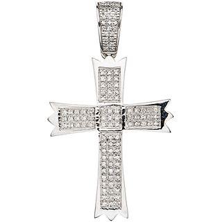 CROSS WITH DIAMONDS IN 10K WHITE GOLD 114 Brilliant cut diamonds ~0.20 ct. Weight: 2.8 g