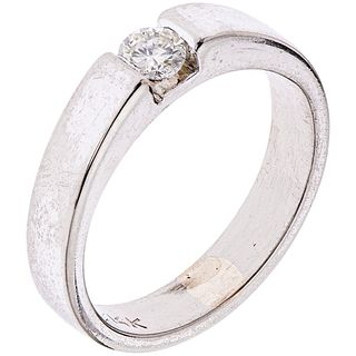 SOLITAIRE RING WITH DIAMOND IN PALLADIUM SILVER 1 Brilliant cut diamond ~0.18 ct.  Weight: 4.3 g. Size: 6
