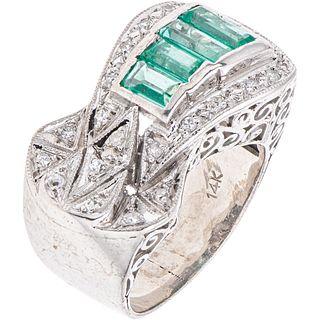 RING WITH EMERALDS AND DIAMONDS IN PALLADIUM SILVER 4 Rectangular cut emeralds ~0.80 ct and 21 8x8 cut diamonds ~0.20 ct