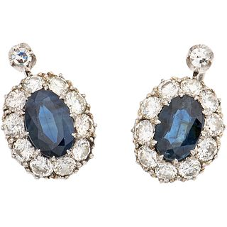 PAIR OF EARRINGS WITH SAPPHIRES AND DIAMONDS IN PLATINUM AND LATCH IN BASE METAL 2 sapphires ~1.50 ct and 22 diamonds ~1.70 ct