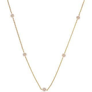 "CHOKER WITH DIAMONDS IN 18K YELLOW GOLD 70 Brilliant cut diamonds ~0.55 ct. Weight: 2.9 g. Length: 17.9"" (45.5 cm)"