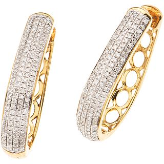 PAIR OF EARRINGS WITH DIAMONDS IN 10K YELLOW GOLD 224 8x8 cut diamonds ~0.75 ct