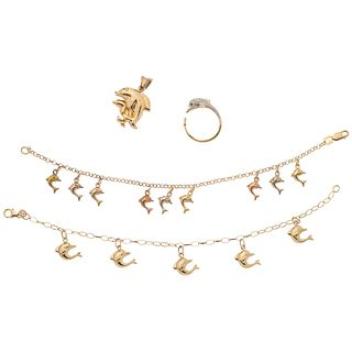 PENDANT, TWO BRACELETS AND RING IN 14K YELLOW, WHITE, PINK GOLD Weight: 16.5 g
