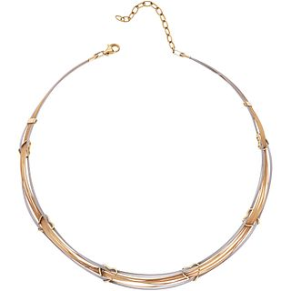 """CHOKER IN 14K YELLOW AND WHITE GOLD Weight: 16.6 g. Length: 16.9"""" (43.0 cm)"""