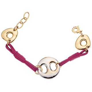 """BRACELET IN TEXTILE, WHITE AND YELLOW 18K GOLD Weight: 14.7 g. Length: 7.8"""" (20.0 cm)"""